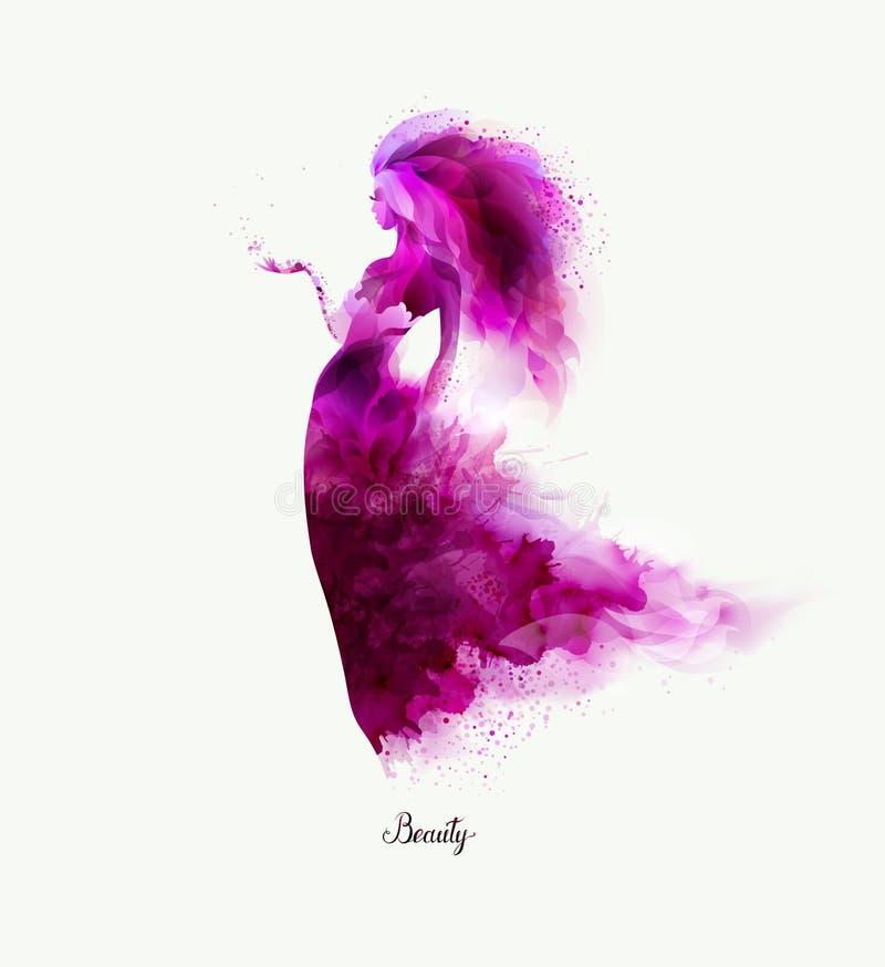 Composition décorative pourpre avec la fille Les taches de magenta ont formé le chiffre abstrait de femme illustration de vecteur