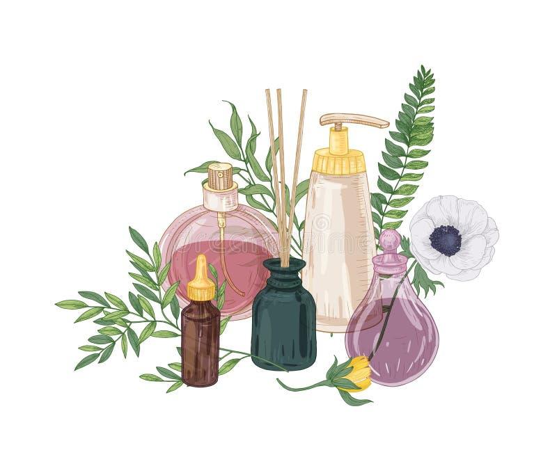 Composition décorative réaliste avec le parfum et les cosmétiques en flacons en verre, bâtons d'encens et fleurs de floraison des illustration de vecteur