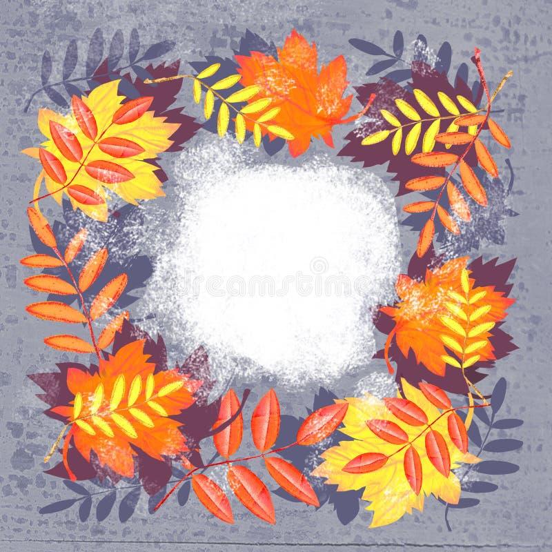 Composition d'automne Crème de feuilles d'automne illustration de vecteur