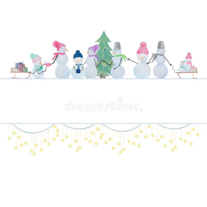 Composition d'hiver des bonhommes de neige dessinés avec les crayons colorés d'aquarelle illustration libre de droits