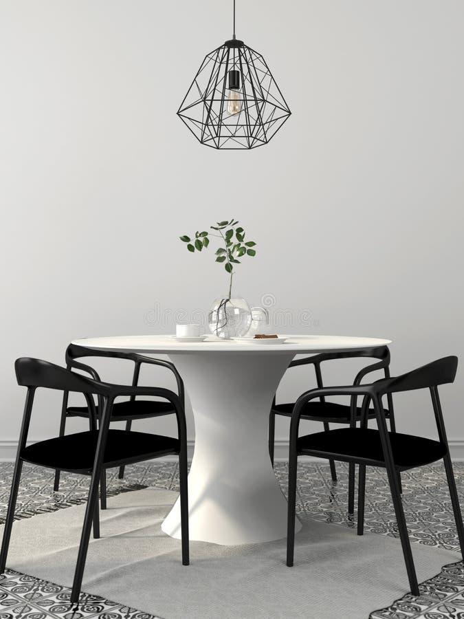 Composition d'Iinterior d'une table de salle à manger avec quatre chaises noires illustration libre de droits