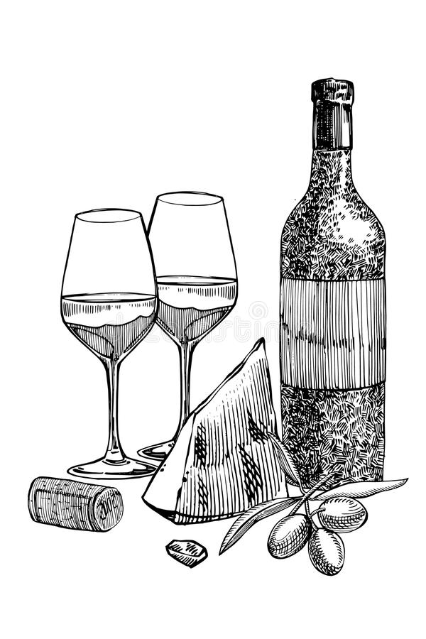 Composition D'une Bouteille De Vin, De Deux Verres, De