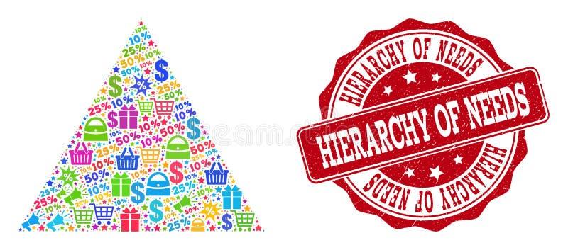 Composition de achat de pyramide de mosaïque et joint grunge à vendre illustration libre de droits