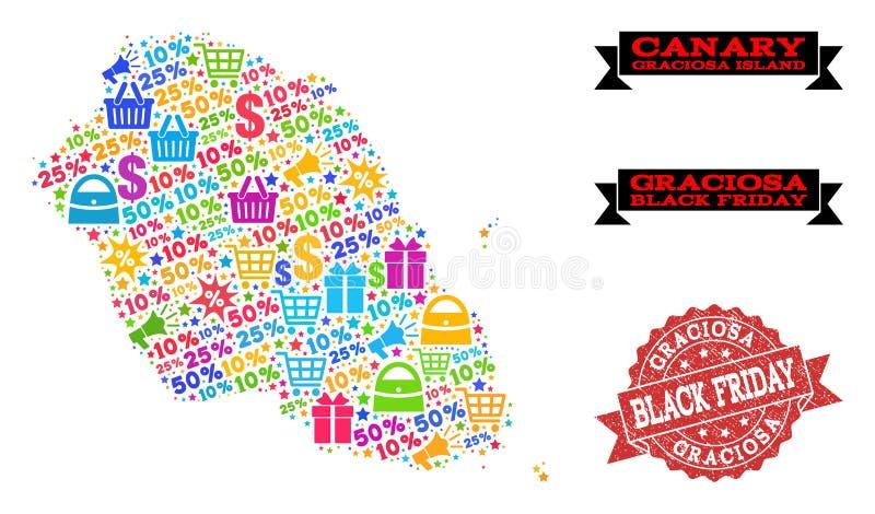 Composition de Black Friday de carte de mosaïque d'île de Graciosa et de timbre de détresse illustration libre de droits
