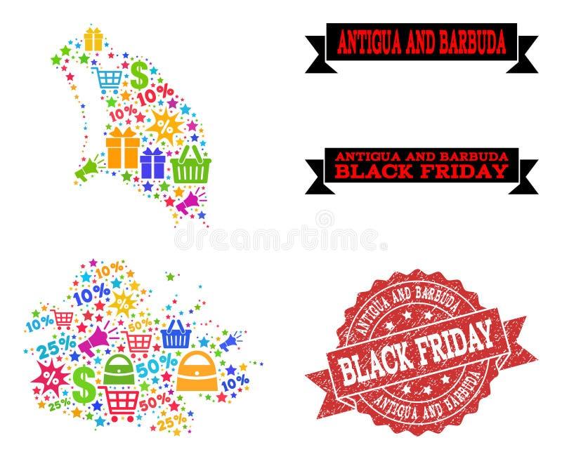 Composition de Black Friday de carte de mosaïque de l'Antigua-et-Barbuda et de joint de détresse illustration stock