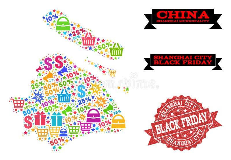 Composition de Black Friday de carte de mosaïque de municipalité de Changhaï et de joint de détresse illustration stock