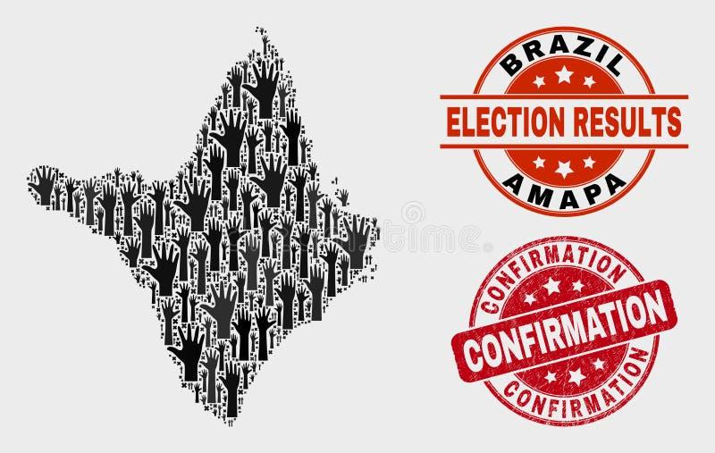 Composition de carte électorale d'état d'Amapa et de joint grunge de timbre de confirmation illustration libre de droits