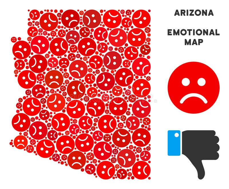Composition de carte d'état de l'Arizona de crise de vecteur des smiley tristes illustration libre de droits