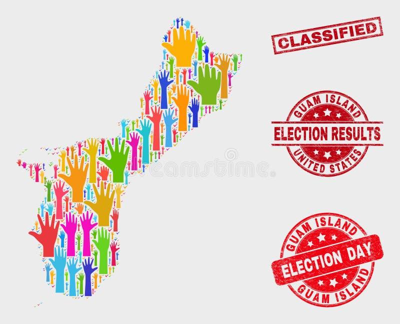 Composition de carte d'île de la Guam de vote et de filigrane classifié grunge illustration libre de droits