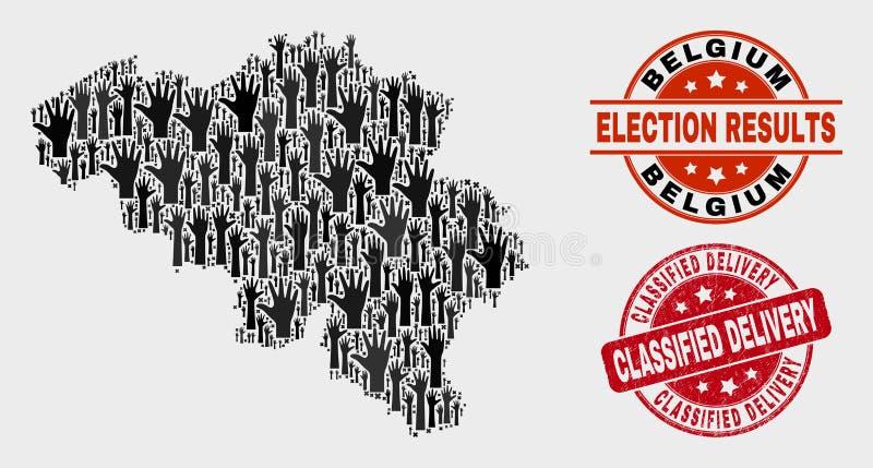 Composition de carte de la Belgique de vote et de joint classifié rayé de timbre de la livraison illustration de vecteur