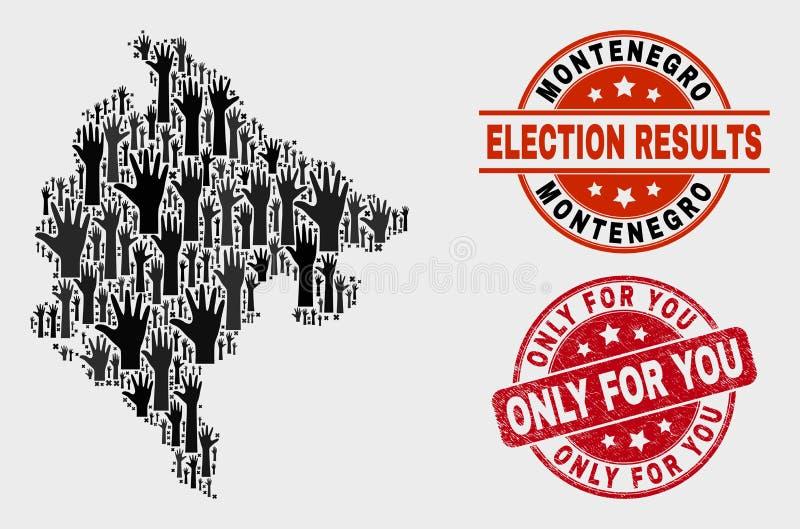 Composition de carte de Monténégro de vote et rayée seulement pour vous le filigrane illustration stock