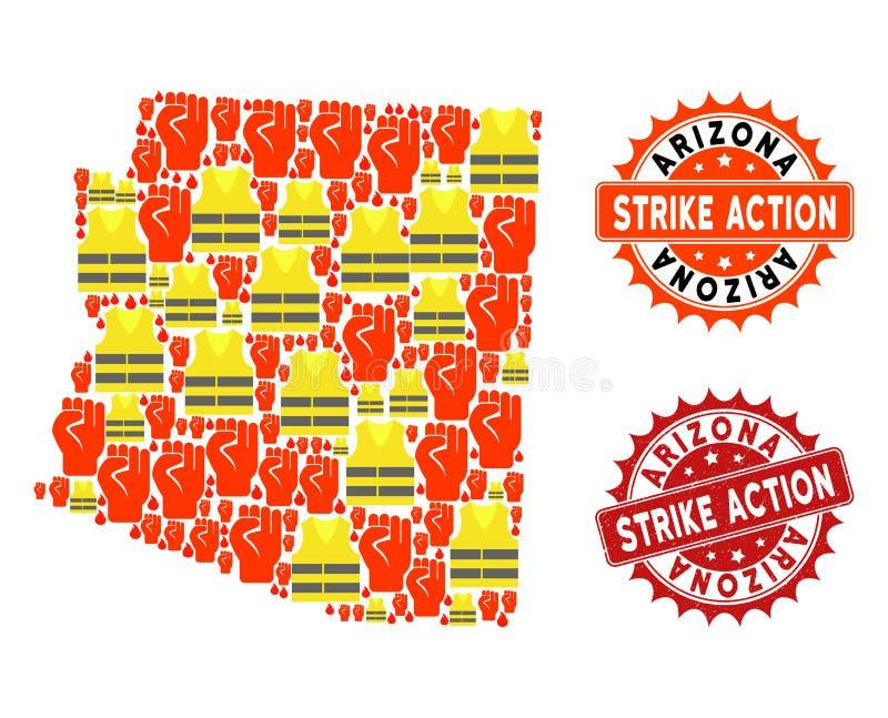 Composition de carte de protestation de Gilet Jaunes des timbres d'action d'état et de grève de l'Arizona illustration libre de droits