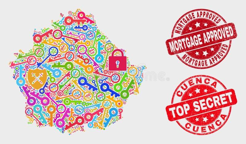 Composition de carte de province de Cuenca de protection et de filigrane approuvé d'hypothèque grunge illustration stock