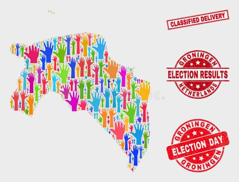 Composition de carte de province de Groningue de vote et de timbre classifié grunge de la livraison illustration libre de droits