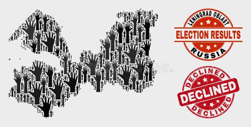 Composition de carte de région de Léningrad de scrutin et affliger le timbre diminué illustration de vecteur