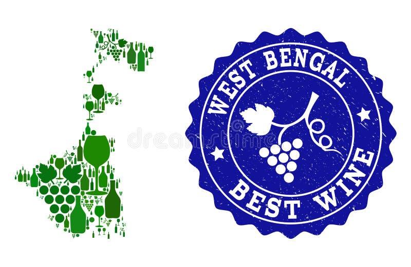 Composition de carte de vin de raisin d'état du Bengale-Occidental et de filigrane grunge du meilleur vin illustration libre de droits