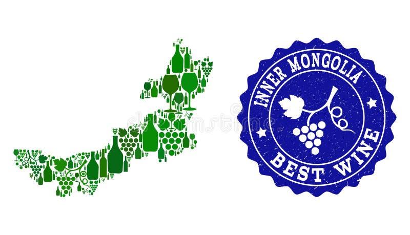 Composition de carte de vin de raisin de filigrane grunge de l'Inner Mongolia et du meilleur vin illustration stock