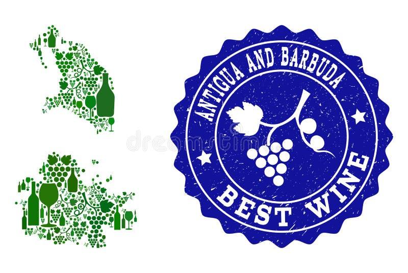 Composition de carte de vin de raisin de l'Antigua-et-Barbuda et de filigrane grunge du meilleur vin illustration libre de droits