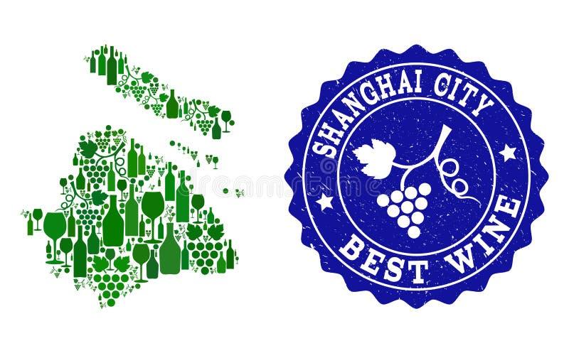 Composition de carte de vin de raisin de municipalité de Changhaï et de timbre grunge du meilleur vin illustration de vecteur