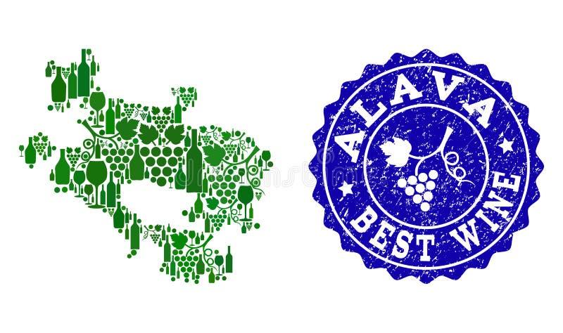 Composition de carte de vin de raisin de province espagnole d'Alava et de meilleur timbre de vin illustration stock