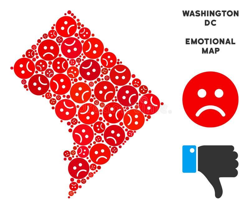 Composition de carte de Washington DC de crise de vecteur d'Emojis triste illustration stock
