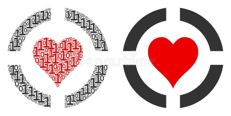 Composition de coeurs de casino des éléments binaires illustration stock