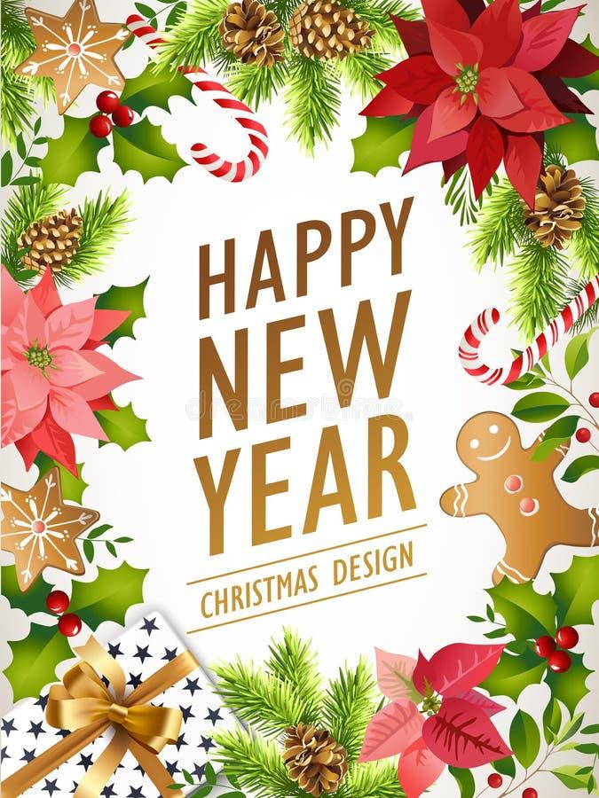 Composition de conception de bonne année de poinsettia, de branches de sapin, de cônes, de houx et d'autres usines Couverture, in illustration de vecteur