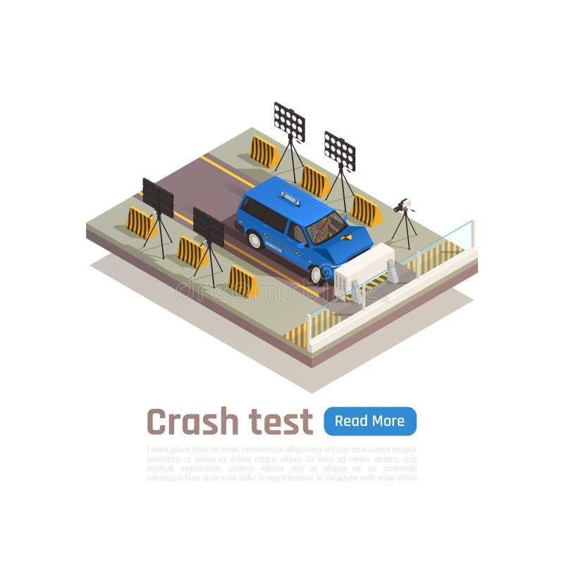 Composition de l'essai de collision automobile illustration de vecteur