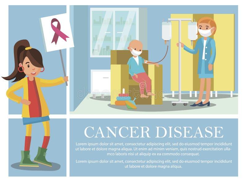 Composition de la maladie du cancer plat illustration libre de droits