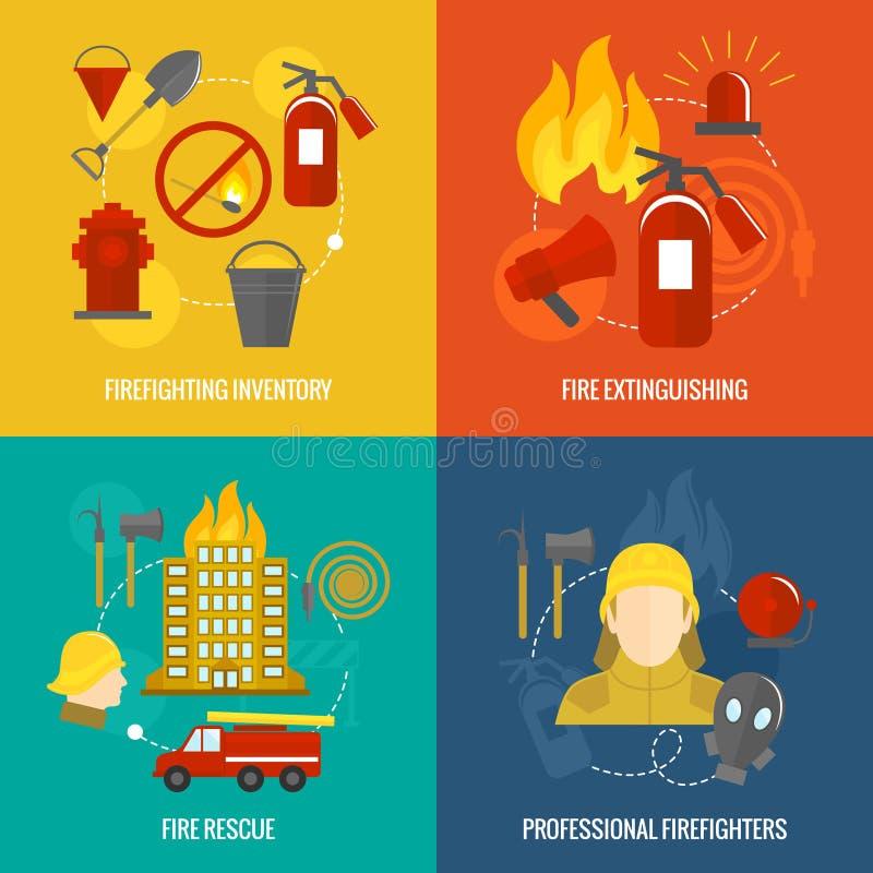 Composition de lutte contre l'incendie en icônes illustration de vecteur