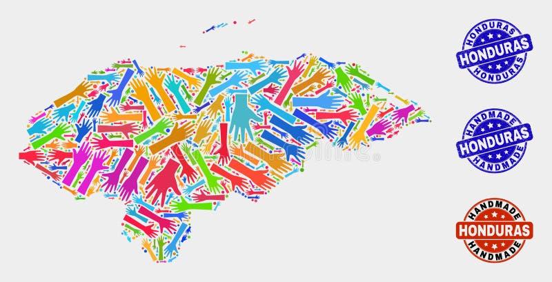 Composition de main de carte du Honduras et de joints faits main grunges illustration de vecteur