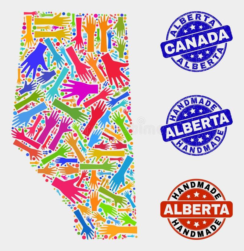 Composition de main d'Alberta Province Map et des phoques faits main rayés illustration libre de droits