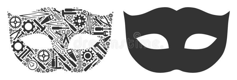 Composition de masque d'intimité des outils de réparation illustration libre de droits