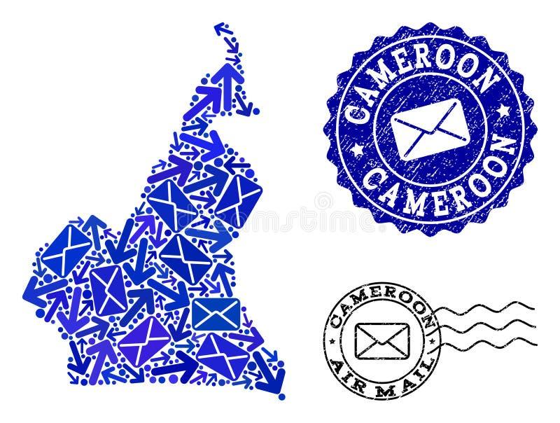 Composition de mouvement de courrier de carte de mosaïque du Cameroun et des timbres texturisés illustration libre de droits