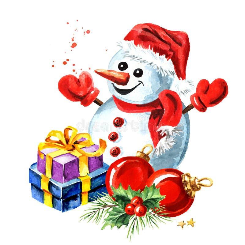 Composition de Noël avec bonhomme de neige, boîte cadeau, branche de sapin et boule rouge Illustration tracée à la main en aquare illustration de vecteur