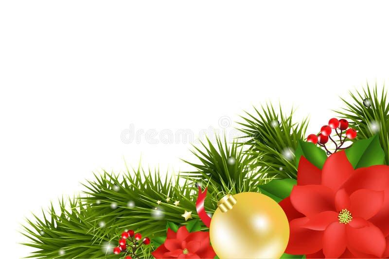 Composition de Noël avec la poinsettia illustration libre de droits