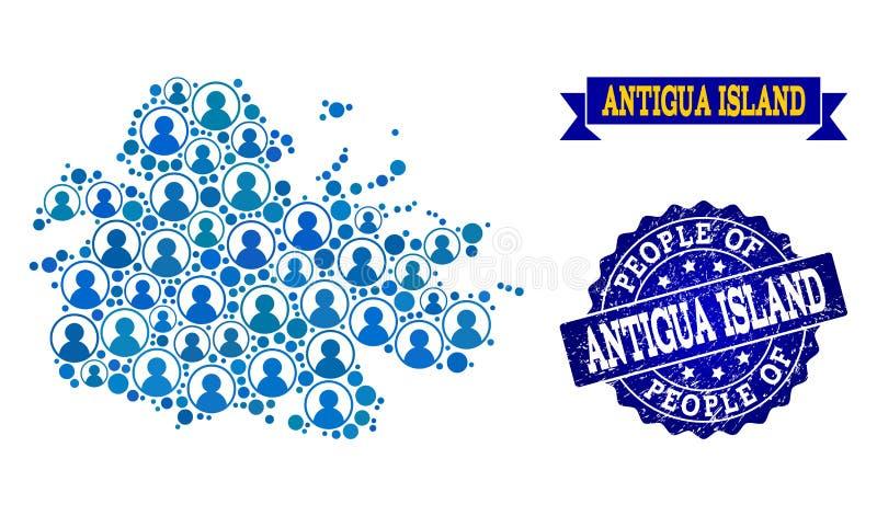 Composition de personnes de carte de mosaïque d'île de l'Antigua et de joint grunge illustration de vecteur