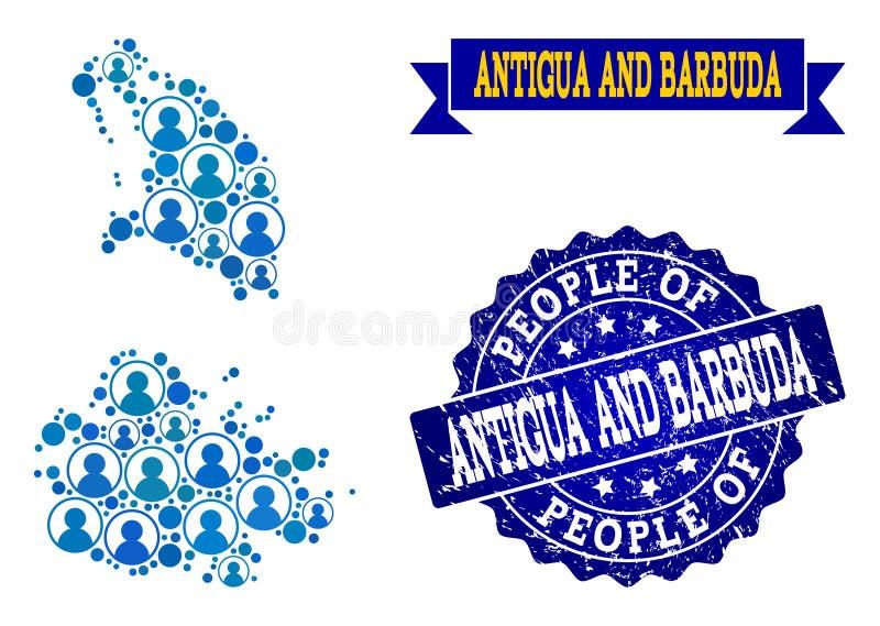 Composition de personnes de carte de mosaïque de l'Antigua-et-Barbuda et de timbre rayé illustration libre de droits