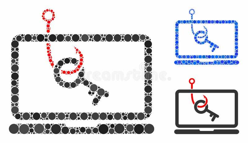 Composition de phishing de la clé d'ordinateur portable Icône des cercles illustration de vecteur