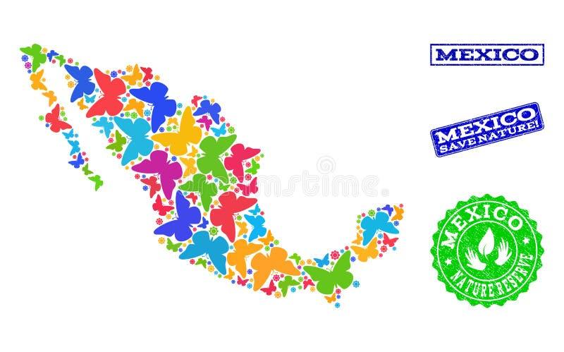 Composition de sauvegarde de nature de carte du Mexique avec des papillons et des timbres de détresse illustration stock