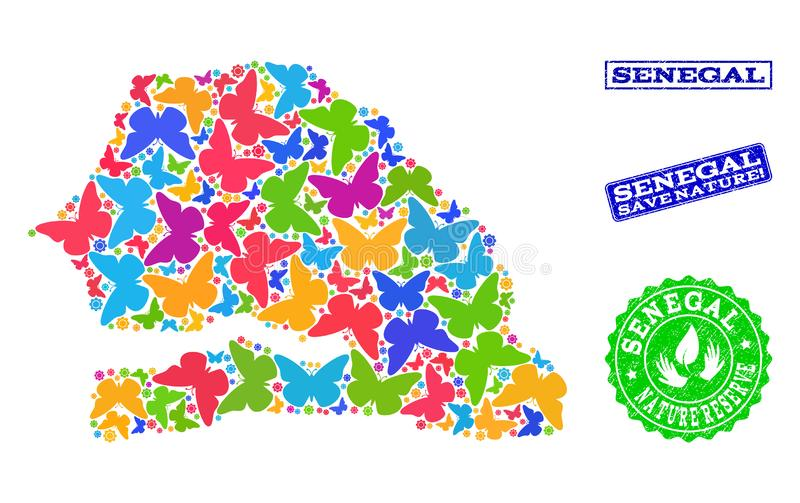 Composition de sauvegarde de nature de carte du Sénégal avec des papillons et des filigranes de détresse illustration stock