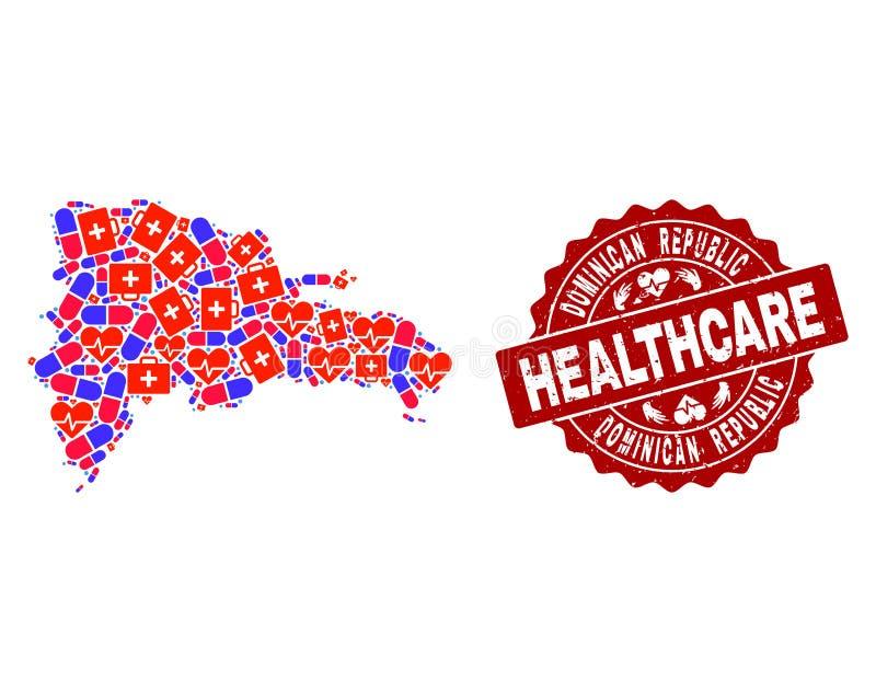 Composition de soins de santé de carte de mosaïque de la République Dominicaine et du timbre texturisé de joint illustration libre de droits