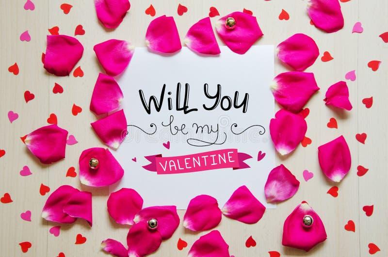 Composition de vintage de jour du ` s de St Valentine de note de salutation images libres de droits