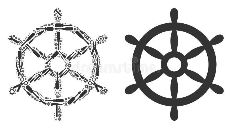 Composition de volant de bateau des outils de réparation illustration libre de droits