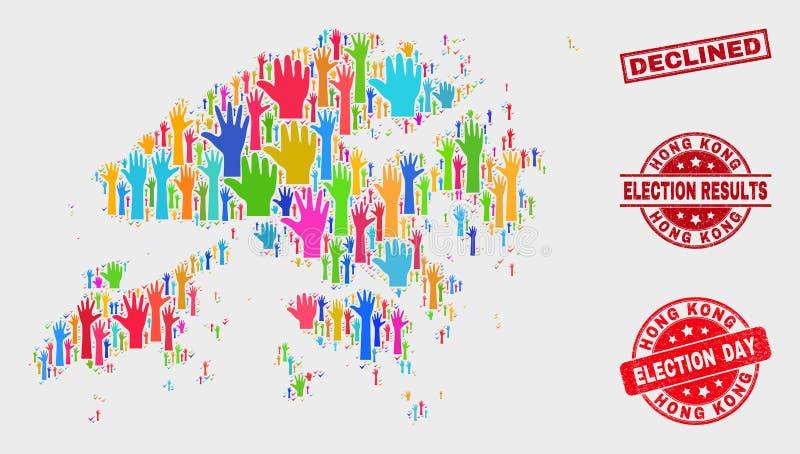 Composition de voter Hong Kong Map et affliger le timbre diminué illustration de vecteur
