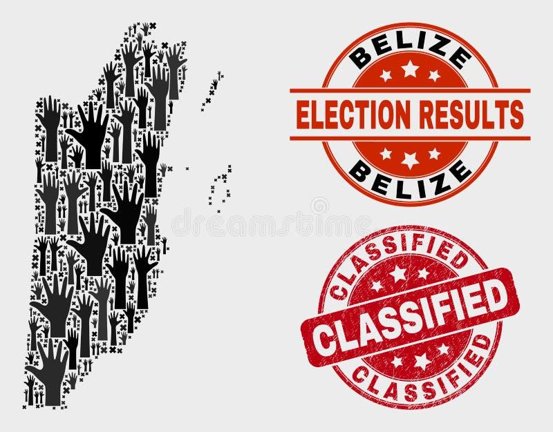 Composition de voter la carte de Belize et le filigrane classifié rayé illustration stock