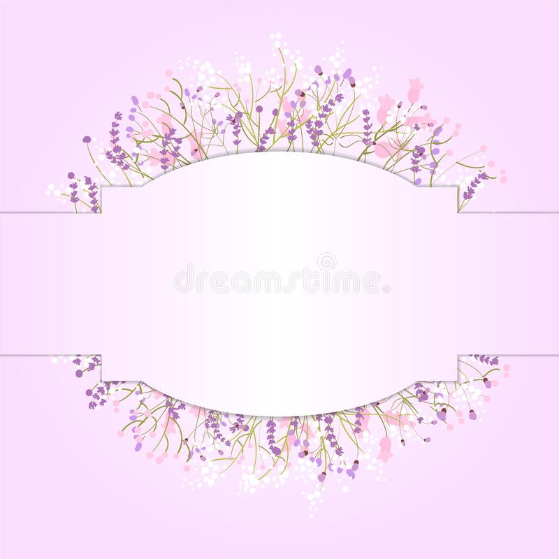 Composition of delicate wild flowers on a pink background with space for your text. Postcard. Illustration vector illustration