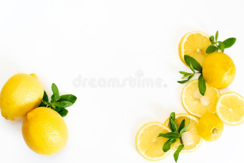 Composition of delicious citrus fruit and green leaves on white background stock images
