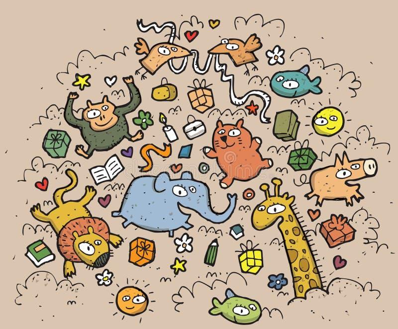 Composition des animaux et des objets drôles : illu tiré par la main illustration de vecteur