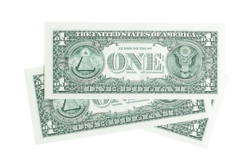 Composition des billets d'un dollar un d'isolement sur le blanc photos stock